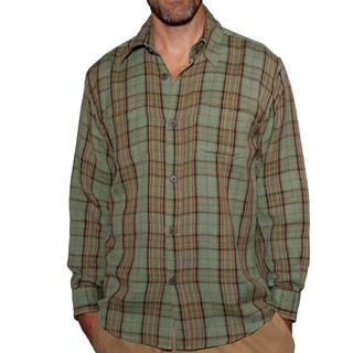Men's Buttoned Sage Hemp and Cotton Plaid Shirt (Nepal)