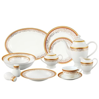 La Luna Collection Bone China 57 Piece Red and 24K Gold Design Dinnerware Set, Service for 8 by Lorren Home Trends.
