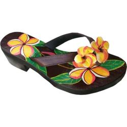 Women's Susan Mango Plumeria Painted Leather Sandal Peach/Green/Brown