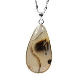De Buman Sterling Silver Picture Agate Pendant necklace