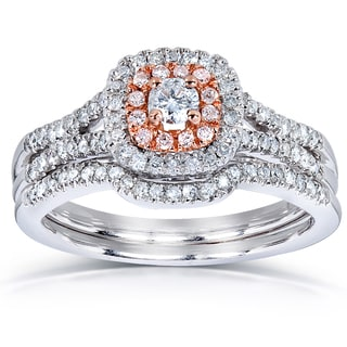 Annello 14k Rose Gold Accent 1/2ct TDW Diamond Bridal Ring Set (H-I, I1-I2)