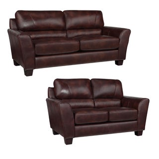 Eclipse Chocolate Brown Italian Leather Sofa and Loveseat