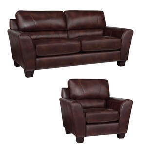 Eclipse Chocolate Brown Italian Leather Sofa and Chair