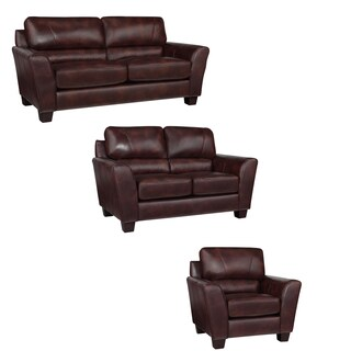 Eclipse Chocolate Brown Italian Leather Sofa, Loveseat and Chair
