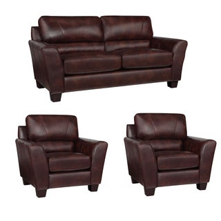 Eclipse Chocolate Brown Italian Leather Sofa and Two Chairs