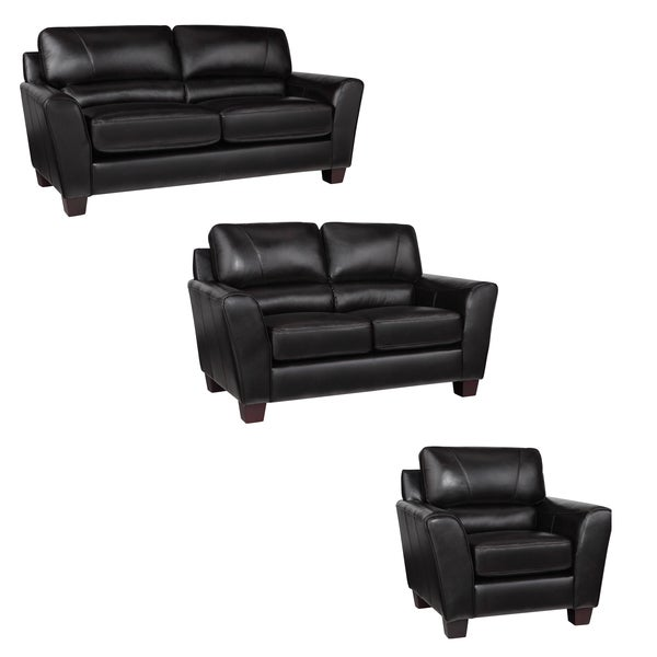 Excalibur Espresso Italian Leather Sofa, Loveseat and Chair
