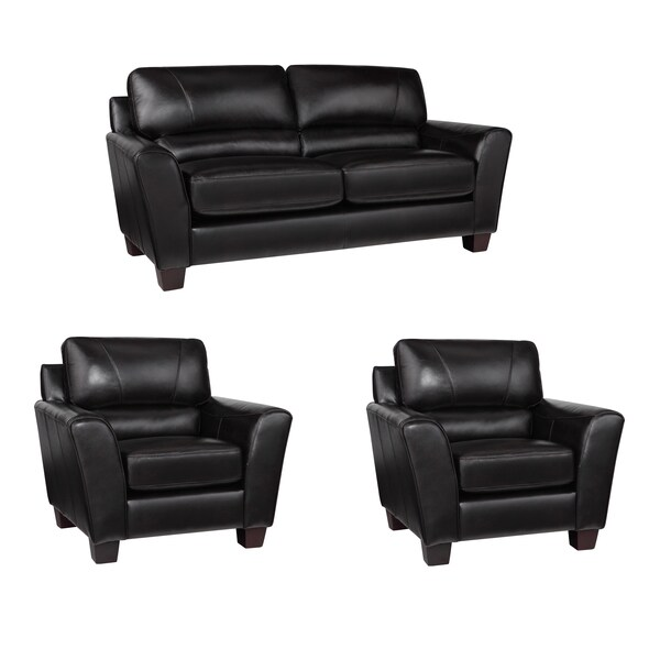 Excalibur Espresso Italian Leather Sofa and Two Chairs