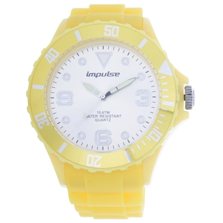 Impulse by Steinhausen Mens Poseidon Silicone Diver White/ Yellow Quartz Watch