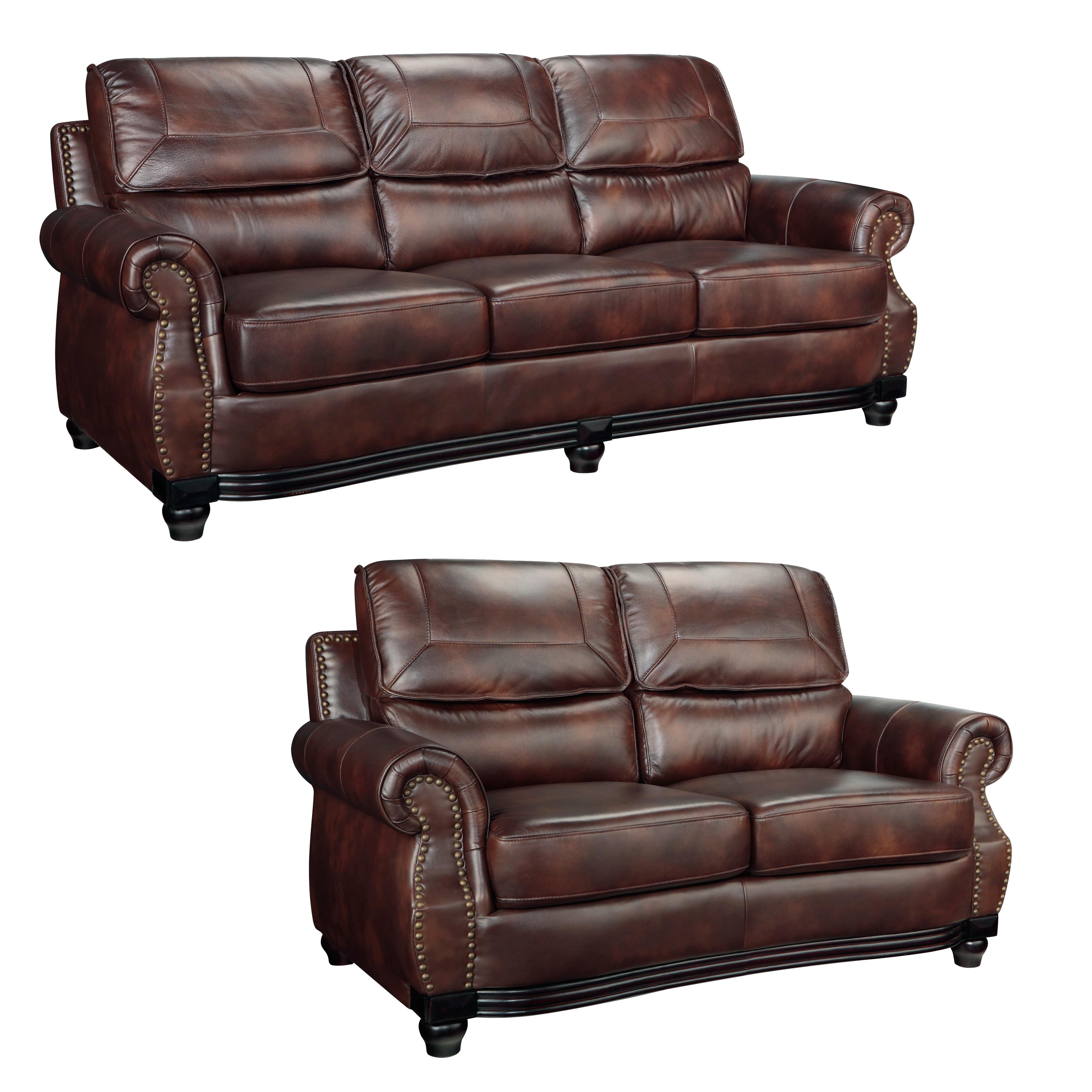 Overstock.com Maverick Cocoa Brown Italian Leather Sofa and Loveseat at Sears.com