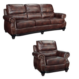 Maverick Cocoa Brown Italian Leather Sofa and Chair
