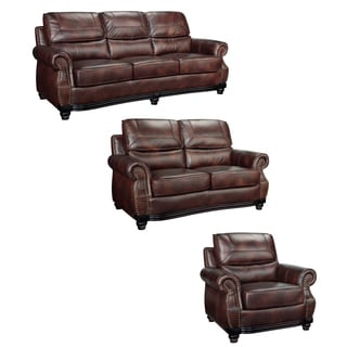 Maverick Cocoa Brown Italian Leather Sofa, Loveseat and Chair