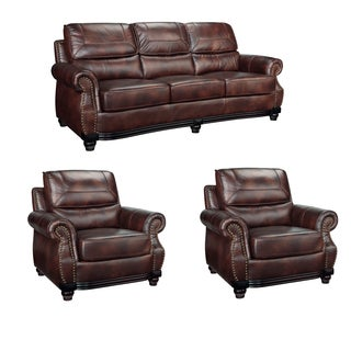 Maverick Cocoa Brown Italian Leather Sofa and Two Chairs