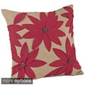 Flower Design Jute 18 x 18-inch Down Fill Throw Pillow