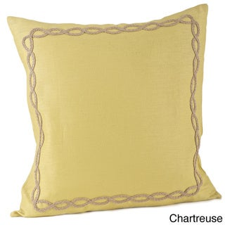 Jute Design on Linen 20x20-inch Feather Filled Throw Pillow