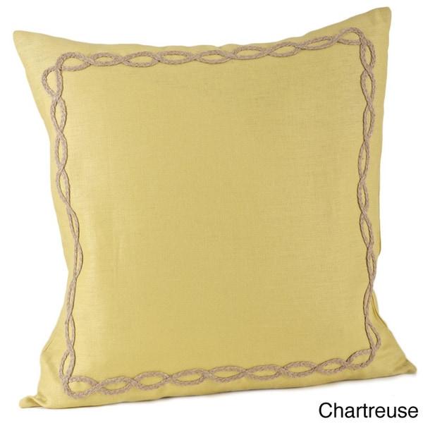 Jute Design on Linen 20x20-inch Feather Filled Throw Pillow