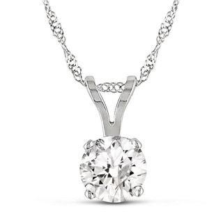 Miadora 14k White Gold 1ct TDW Certified Diamond Solitaire Necklace (G-H, I1-I2)