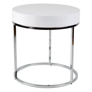 Round Chrome/ White Side Table