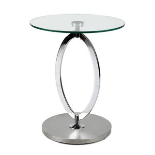 Round Chrome/Glass Side Table