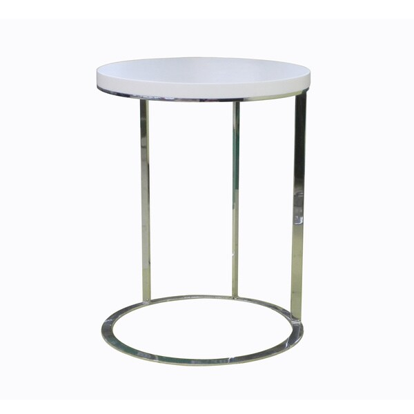 Round White/Chrome Side Table