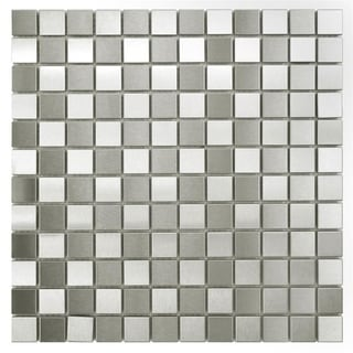 SomerTile Checkerboard 11.875x11.875-inch Stainless Steel Over Porcelain Mosaic Wall Tile (Pack of 10)