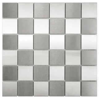 SomerTile 11.875x11.875-inch Checkerboard Mega Square Stainless Steel Over Porcelain Mosaic Wall Tile (Case of 10)