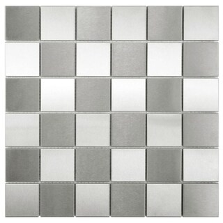 SomerTile 2-inch Checkerboard 11.875-inches x 11.875-inches Stainless Steel Over Porcelain Mosaic Wall Tile (Pack of 10)