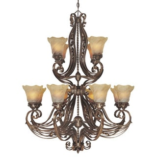 12-light Two-tier Rustic Iron Chandelier