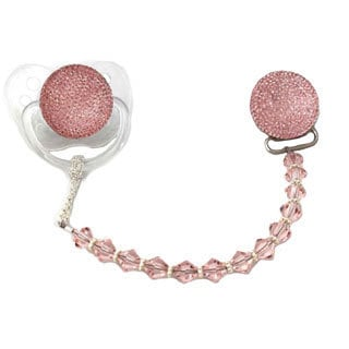 Sparkly Pink Swarovski Crystal and Bead Pacifier Clip