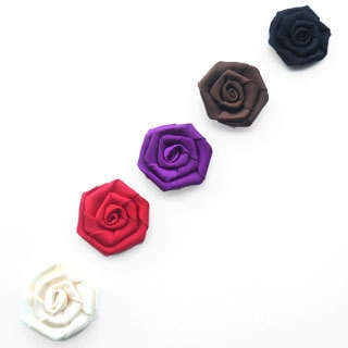 Satin Rose Flower Clip Set (Set of 5)
