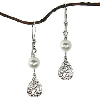 White Crystal Pearl Filigree Teardrop Sterling Silver Earrings