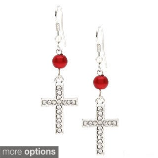 Silvertone Cross and Faux Pearl Dangle Earrings