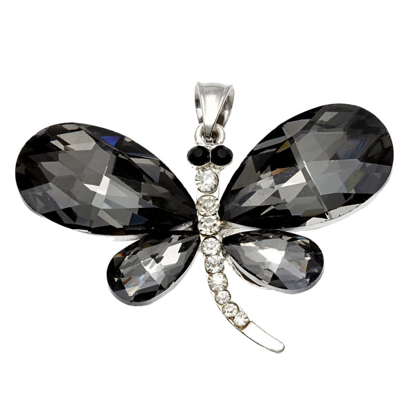 Smokey Topaz Crystal Dragonfly Necklace Pendant