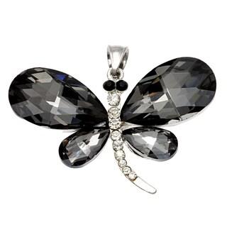 Smokey Topaz Crystal Dragonfly Necklace Pendant