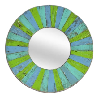Round Shaped Multi-colored Solid Wood Mirror