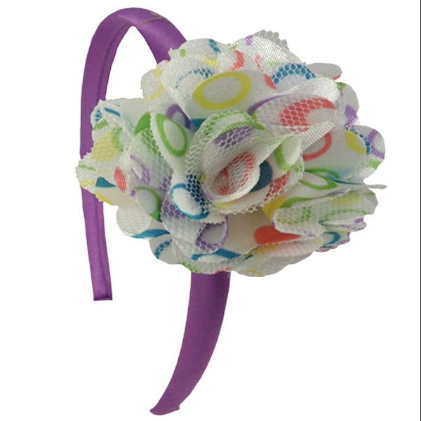 Multi-colored Dots Flower Headband