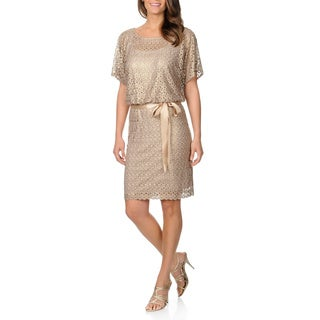R&M Richards Women's Metallic Lace Split Sleeve Blouson Dress