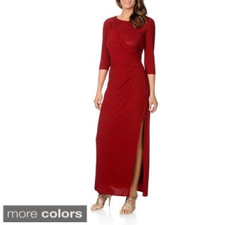 R&M Richards Women's Knit Gown with Lace Bodice Detail
