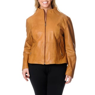Excelled Women's Plus Size Tan Leather Jacket