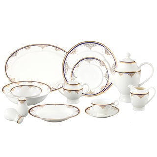 Loren Home Trends La Luna Collection 57-piece Blue/ Gold Bone China Dinnerware Set