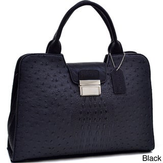 Dasein Ostrich and Croco Embossed Fusion Texture Buckled Satchel