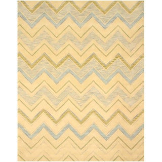 EORC Hand-tufted Wool Ivory Pastel Chevron Rug (7'9 x 9'9)
