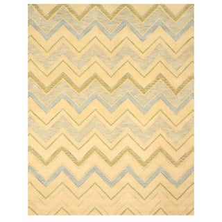 Hand-tufted Pastel Chevron Ivory Wool Rug (5' x 8')