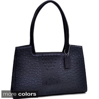 Dasein Ostrich and Croco Embossed Structured Shoulder Bag