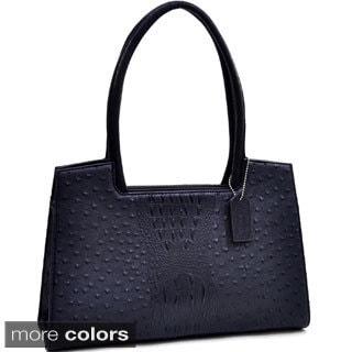 Dasein Ostrich and Croco Embossed Structured Shoulder Bag