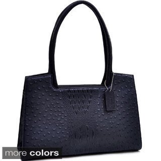 Dasein Ostrich and Croco Embossed Fusion Structured Shoulder Bag