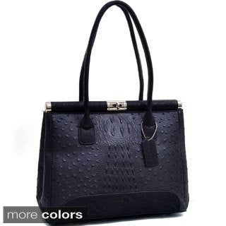 Dasein Ostrich and Croco Embossed Square Shoulder Bag