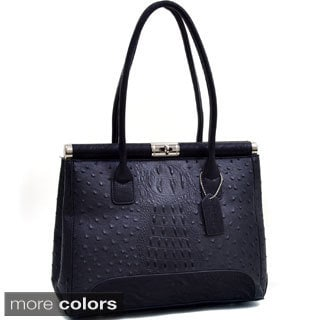 Dasein Ostrich and Croco Embossed Fusion Square Shoulder Bag