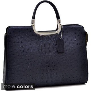 Dasein Ostrich and Croco Fusion Textured Briefcase