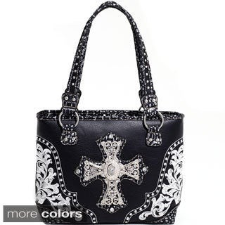 Rhinestone Cross Western Studded Faux-Leather Shoulder Bag