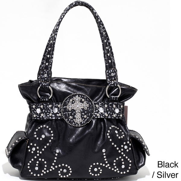 Metallic Trim Western Studded Shoulder Bag